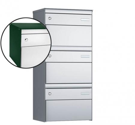 Stebler 3-er Briefkastengruppe s:box 13 Q, 1x3, Moosgrün/Weissaluminium, Wandmontage