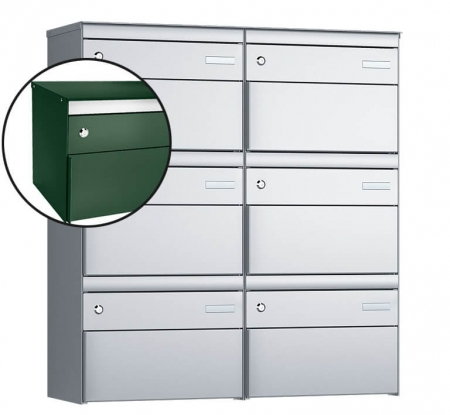 Stebler 6-er Briefkastengruppe s:box 13 Q, 2x3, Moosgrün/Weissaluminium, Wandmontage