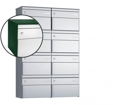Stebler 8-er Briefkastengruppe s:box 13 Q, 2x4, Moosgrün/Weissaluminium, Wandmontage