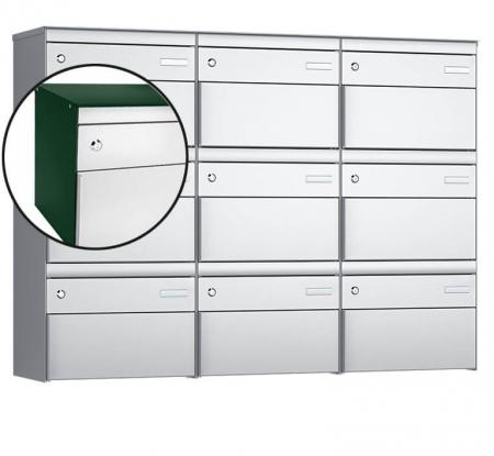 Stebler 9-er Briefkastengruppe s:box 13 Q, 3x3, Moosgrün/Weissaluminium, Wandmontage