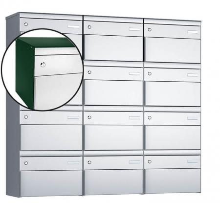 Stebler 12-er Briefkastengruppe s:box 13 Q, 3x4, Moosgrün/Weissaluminium, Wandmontage