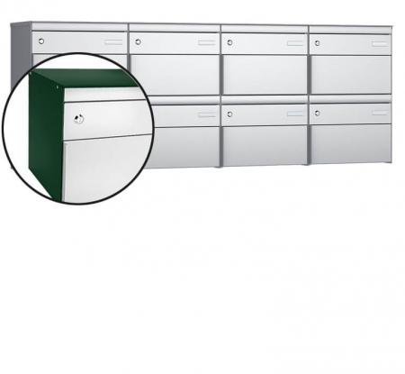 Stebler 8-er Briefkastengruppe s:box 13 Q, 4x2, Moosgrün/Weissaluminium, Wandmontage