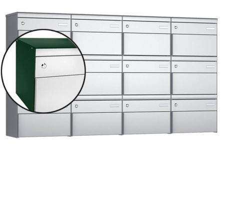 Stebler 12-er Briefkastengruppe s:box 13 Q, 4x3, Moosgrün/Weissaluminium, Wandmontage