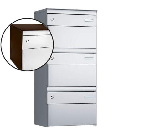 Stebler 3-er Briefkastengruppe s:box 13 Q, 1x3, Schokoladenbraun/Weissaluminium, Wandmontage