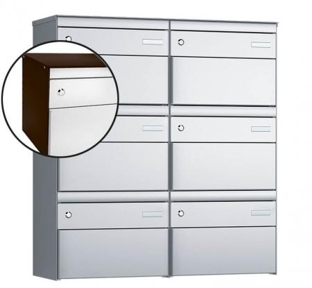Stebler 6-er Briefkastengruppe s:box 13 Q, 2x3, Schokoladenbraun/Weissaluminium, Wandmontage