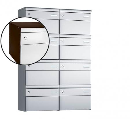 Stebler 8-er Briefkastengruppe s:box 13 Q, 2x4, Schokoladenbraun/Weissaluminium, Wandmontage