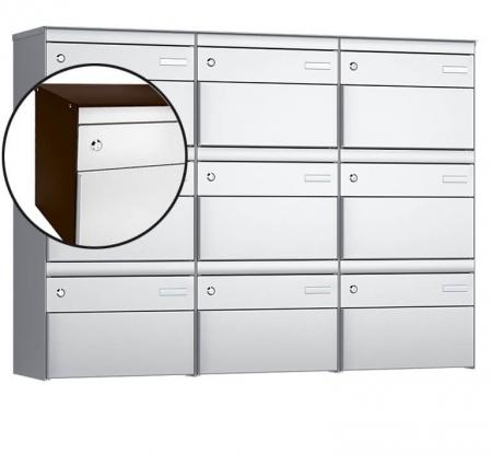 Stebler 9-er Briefkastengruppe s:box 13 Q, 3x3, Schokoladenbraun/Weissaluminium, Wandmontage