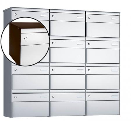 Stebler 12-er Briefkastengruppe s:box 13 Q, 3x4, Schokoladenbraun/Weissaluminium, Wandmontage