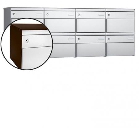 Stebler 8-er Briefkastengruppe s:box 13 Q, 4x2, Schokoladenbraun/Weissaluminium, Wandmontage