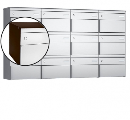 Stebler 12-er Briefkastengruppe s:box 13 Q, 4x3, Schokoladenbraun/Weissaluminium, Wandmontage