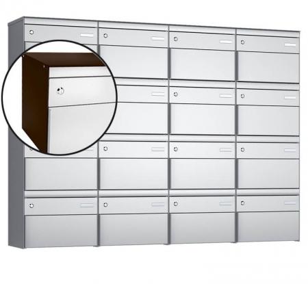 Stebler 16-er Briefkastengruppe s:box 13 Q, 4x4, Schokoladenbraun/Weissaluminium, Wandmontage