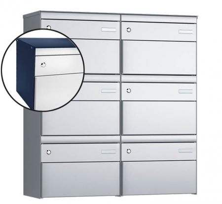 Stebler 6-er Briefkastengruppe s:box 13 Q, 2x3, Saphirblau/Weissaluminium, Wandmontage