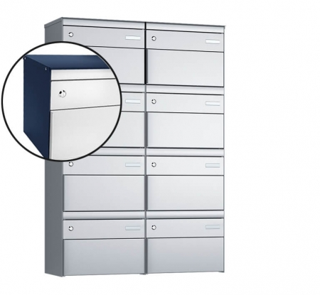 Stebler 8-er Briefkastengruppe s:box 13 Q, 2x4, Saphirblau/Weissaluminium, Wandmontage