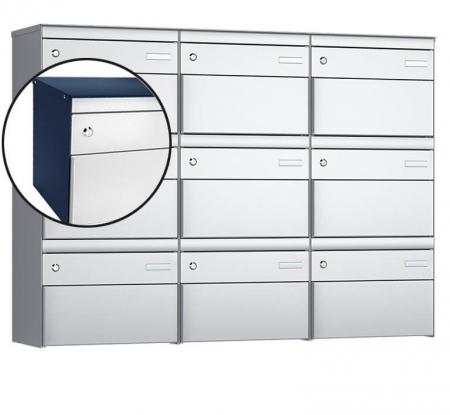 Stebler 9-er Briefkastengruppe s:box 13 Q, 3x3, Saphirblau/Weissaluminium, Wandmontage