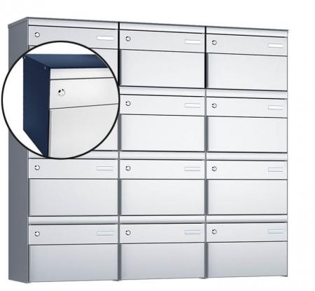 Stebler 12-er Briefkastengruppe s:box 13 Q, 3x4, Saphirblau/Weissaluminium, Wandmontage