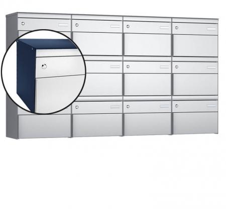 Stebler 12-er Briefkastengruppe s:box 13 Q, 4x3, Saphirblau/Weissaluminium, Wandmontage