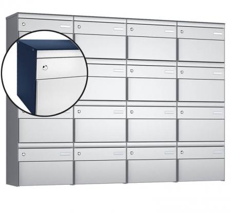 Stebler 16-er Briefkastengruppe s:box 13 Q, 4x4, Saphirblau/Weissaluminium, Wandmontage