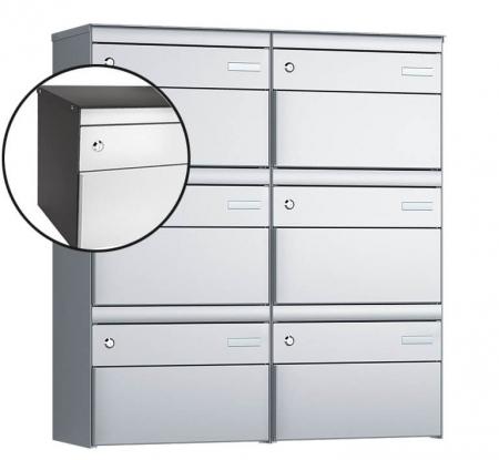 Stebler 6-er Briefkastengruppe s:box 13 Q, 2x3, Patina/Weissaluminium, Wandmontage