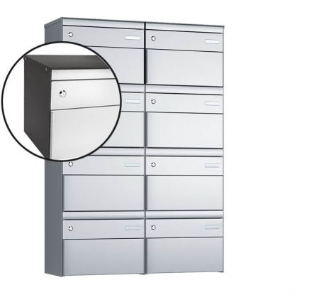 Stebler 8-er Briefkastengruppe s:box 13 Q, 2x4, Patina/Weissaluminium, Wandmontage