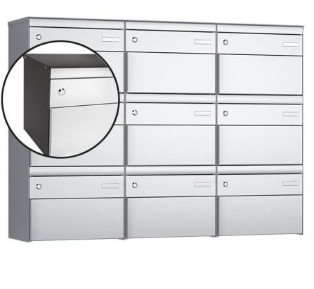 Stebler 9-er Briefkastengruppe s:box 13 Q, 3x3, Patina/Weissaluminium, Wandmontage