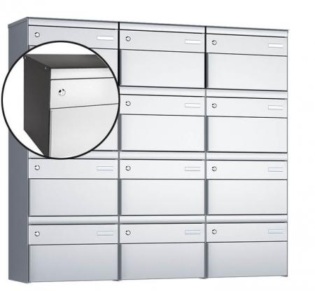 Stebler 12-er Briefkastengruppe s:box 13 Q, 3x4, Patina/Weissaluminium, Wandmontage
