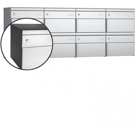 Stebler 8-er Briefkastengruppe s:box 13 Q, 4x2, Patina/Weissaluminium, Wandmontage
