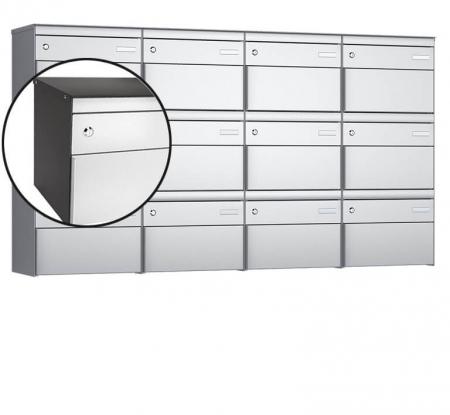 Stebler 12-er Briefkastengruppe s:box 13 Q, 4x3, Patina/Weissaluminium, Wandmontage