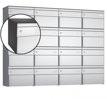 Stebler 16-er Briefkastengruppe s:box 13 Q, 4x4, Patina/Weissaluminium, Wandmontage