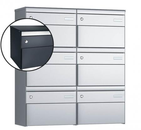 Stebler 6-er Briefkastengruppe s:box 13 Q, 2x3, Anthrazit, Wandmontage