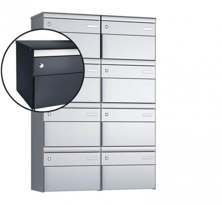 Stebler 8-er Briefkastengruppe s:box 13 Q, 2x4, Anthrazit, Wandmontage