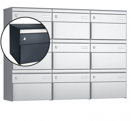 Stebler 9-er Briefkastengruppe s:box 13 Q, 3x3, Anthrazit, Wandmontage