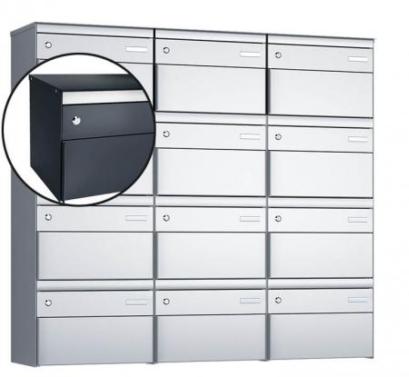 Stebler 12-er Briefkastengruppe s:box 13 Q, 3x4, Anthrazit, Wandmontage
