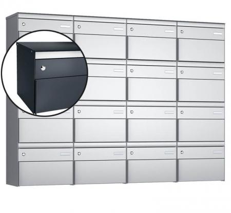 Stebler 16-er Briefkastengruppe s:box 13 Q, 4x4, Anthrazit, Wandmontage