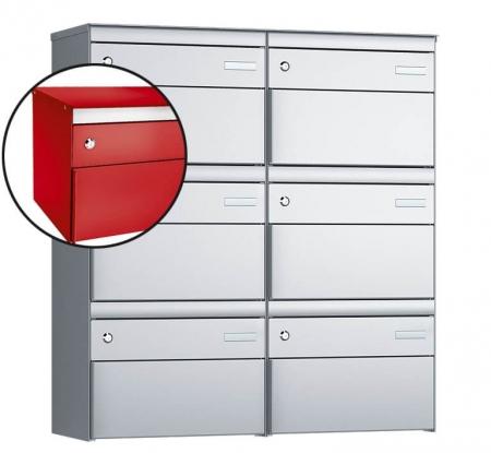Stebler 6-er Briefkastengruppe s:box 13 Q, 2x3, Feuerrot, Wandmontage