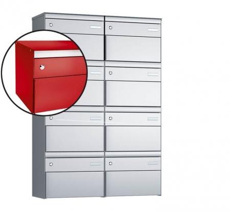 Stebler 8-er Briefkastengruppe s:box 13 Q, 2x4, Feuerrot, Wandmontage