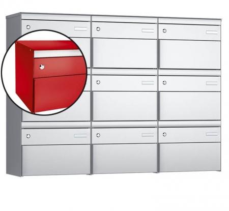 Stebler 9-er Briefkastengruppe s:box 13 Q, 3x3, Feuerrot, Wandmontage