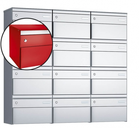 Stebler 12-er Briefkastengruppe s:box 13 Q, 3x4, Feuerrot, Wandmontage