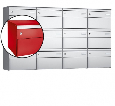Stebler 12-er Briefkastengruppe s:box 13 Q, 4x3, Feuerrot, Wandmontage