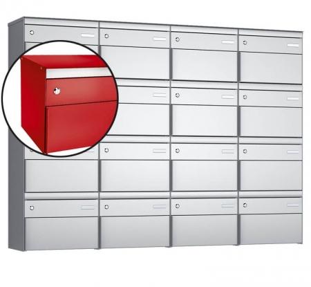 Stebler 16-er Briefkastengruppe s:box 13 Q, 4x4, Feuerrot, Wandmontage