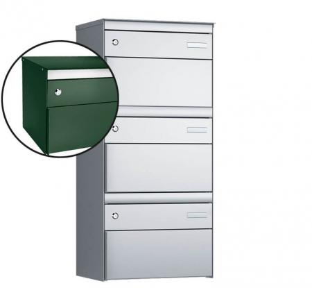 Stebler 3-er Briefkastengruppe s:box 13 Q, 1x3, Moosgrün, Wandmontage