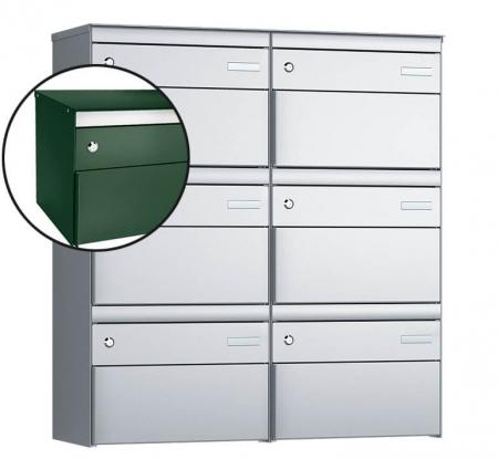 Stebler 6-er Briefkastengruppe s:box 13 Q, 2x3, Moosgrün, Wandmontage