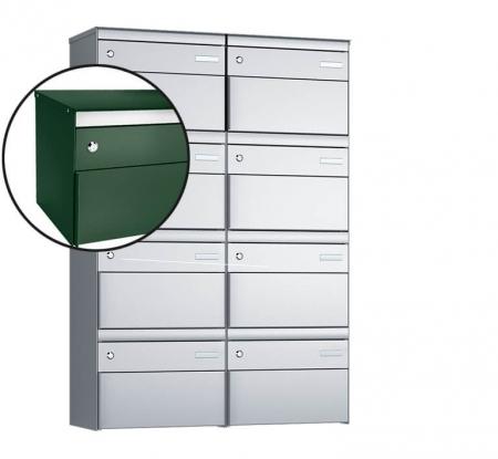 Stebler 8-er Briefkastengruppe s:box 13 Q, 2x4, Moosgrün, Wandmontage