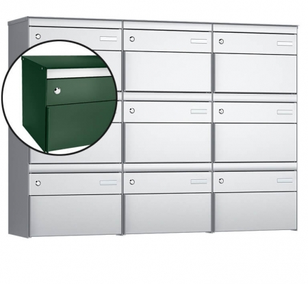 Stebler 9-er Briefkastengruppe s:box 13 Q, 3x3, Moosgrün, Wandmontage