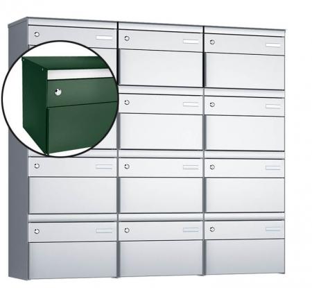Stebler 12-er Briefkastengruppe s:box 13 Q, 3x4, Moosgrün, Wandmontage