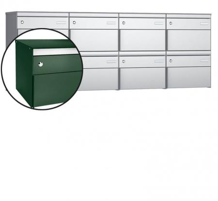 Stebler 8-er Briefkastengruppe s:box 13 Q, 4x2, Moosgrün, Wandmontage