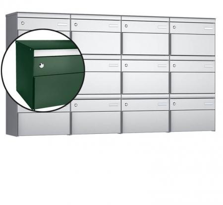 Stebler 12-er Briefkastengruppe s:box 13 Q, 4x3, Moosgrün, Wandmontage