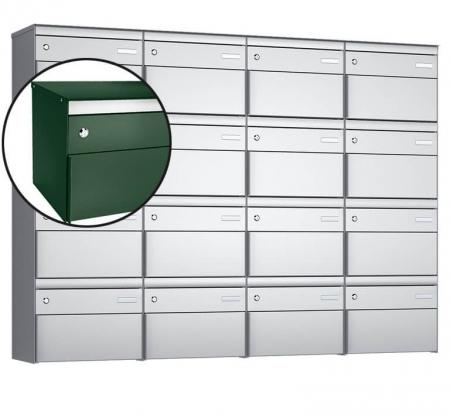 Stebler 16-er Briefkastengruppe s:box 13 Q, 4x4, Moosgrün, Wandmontage