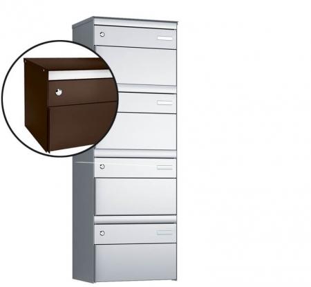 Stebler 4-er Briefkastengruppe s:box 13 Q, 1x4, Schokoladenbraun, Wandmontage