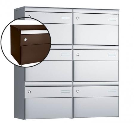 Stebler 6-er Briefkastengruppe s:box 13 Q, 2x3, Schokoladenbraun, Wandmontage