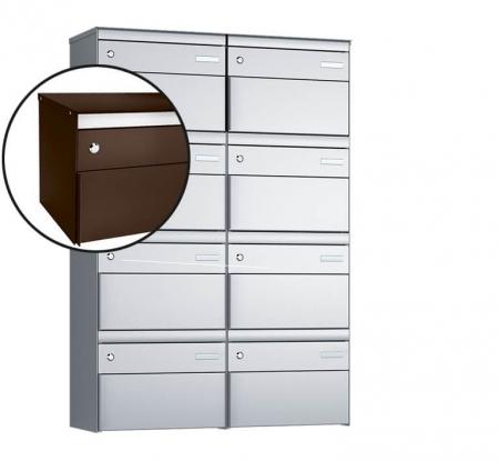 Stebler 8-er Briefkastengruppe s:box 13 Q, 2x4, Schokoladenbraun, Wandmontage